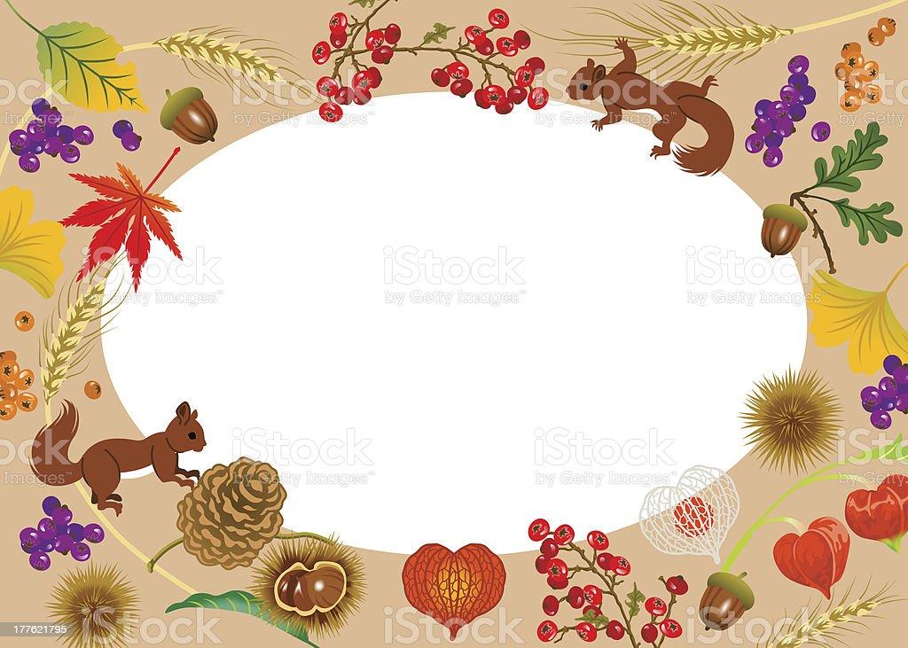 Autumn Frame,Horizontal vector art illustration