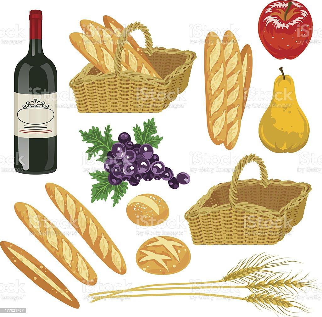 Automne fruits et pains, isolation - Illustration vectorielle