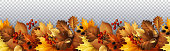 Vector illustration - Autumn seamless garland with leaves, berries and cones. EPS 10