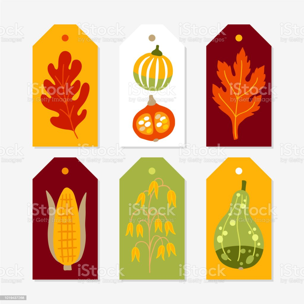 Autumn Gift Tags with pumpkins, corn, oat and leaves vector art illustration