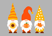 istock Autumn gnomes. Fall decorations. Cute cartoon characters. Vector template for banner, poster, greeting card, t-shirt, etc 1335317271