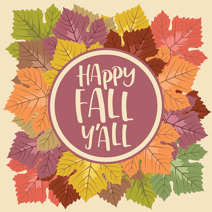 """Autumn Grape Leaf Frame with """"Happy Fall Y'All"""" Text"""