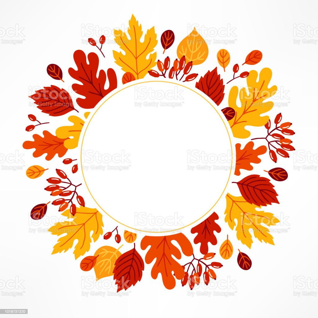 Autumn Greeting Card With Colorful Leaves Berries Circle Blank Label Royalty Free Autumn