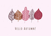 Autumn greeting card with leaves. Stock illustration