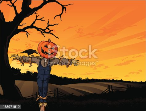 Vector Illustration of an Autumn themed seasonal greeting card with scarecrow guarding fields. Copyspace available. File saved in layers for easy editing.