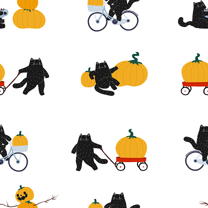 Autumn Halloween black hand drawn cat seamless pattern. The cat rides a bicycle, rolls a red cart, drinks coffee and makes a pumpkin snowman. Samhain and the harvest festival. Cute flat cartoon animal