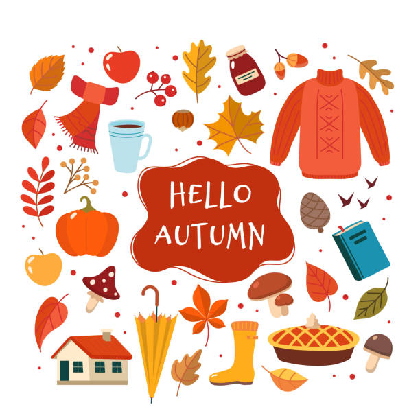 Autumn hand drawn elements collection with lettering. Cute vector illustration in flat style vector art illustration