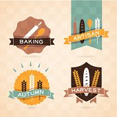 Autumn harvest baking badges and banners. Pattern texture is overlaid on elements. EPS 10 file. Transparency effects used on highlight elements.
