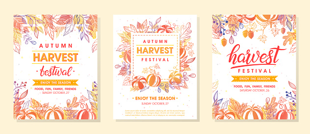 Autumn harvest festival banners with harvest symbols, leaves and floral elements in fall colors