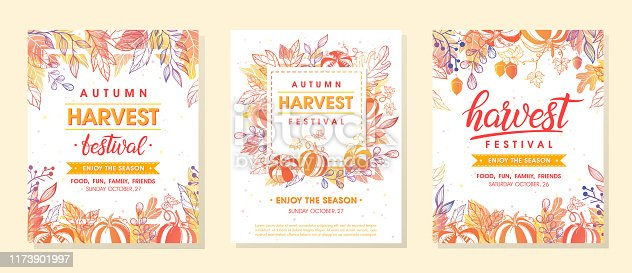 Autumn harvest festival banners with harvest symbols, leaves and floral elements in fall colors.Harvest fest design perfect for prints,flyers,banners,invitations and more.Vector autumn illustration.