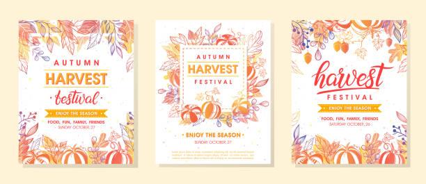 jesienne dożynki banery z symbolami żniwnymi, liśćmi i kwiatowymi elementami w jesiennych kolorach - zbierać plony stock illustrations
