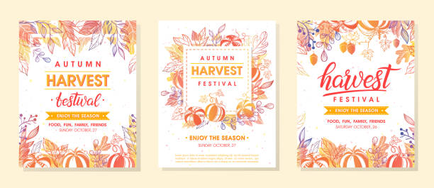 autumn harvest festival banners with harvest symbols, leaves and floral elements in fall colors - tradycyjny festiwal stock illustrations