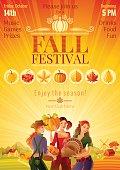 Autumn harvest festival invitation design. Fall thanksgiving party Vector illustration.