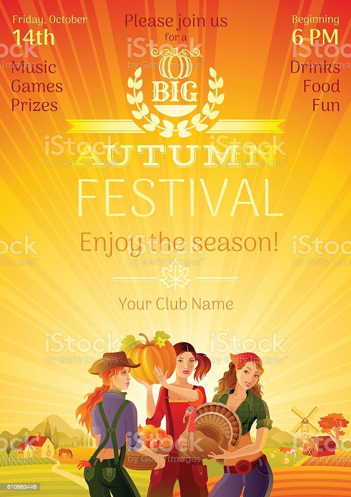 Autumn harvest festival invitation design. Fall thanksgiving party Vector illustration. vector art illustration
