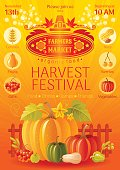 Autumn harvest festival poster. Fall party invitation design. Vector illustration.