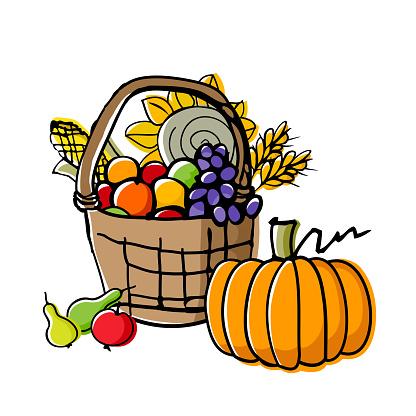 Autumn harvest in basket.
