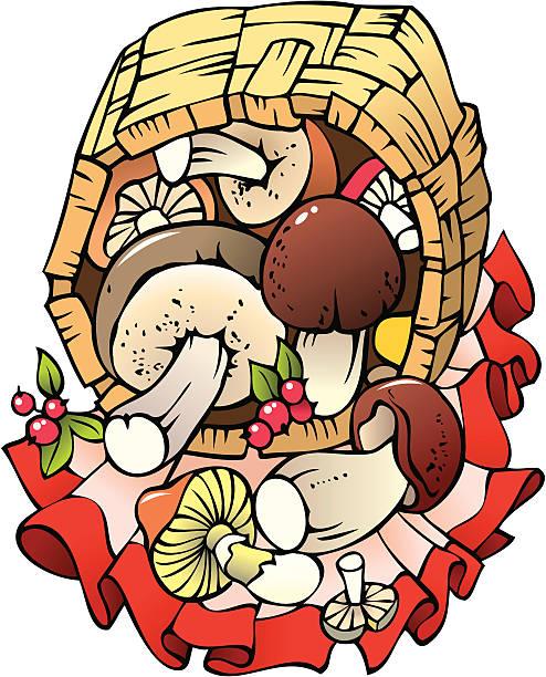 bildbanksillustrationer, clip art samt tecknat material och ikoner med autumn harvest: mushrooms in the basket - höst plocka svamp