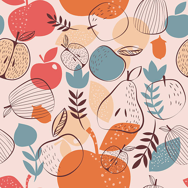 Autumn harvest seamless pattern EPS 10 fruit designs stock illustrations