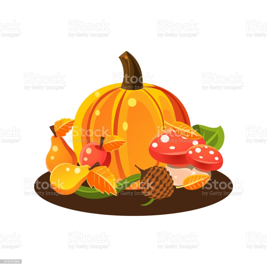 Autumn Harvest Still Life vector art illustration
