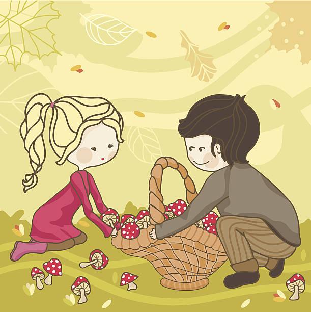 bildbanksillustrationer, clip art samt tecknat material och ikoner med autumn harvest - höst plocka svamp