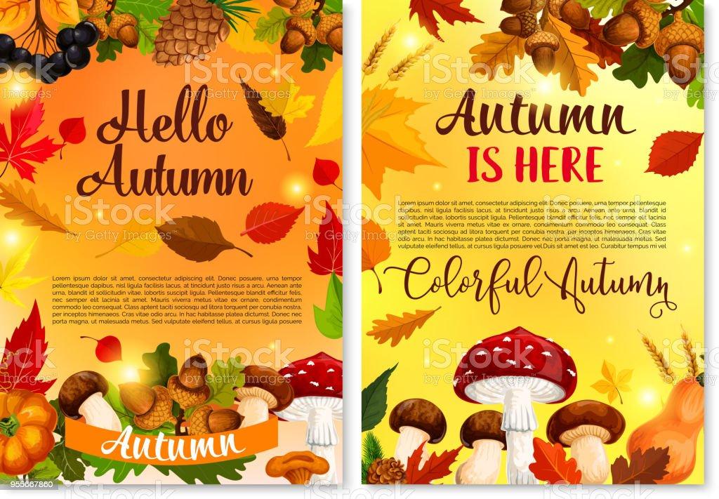 Autumn Hello Fall Seasonal Vector Greeting Card Royalty Free Autumn Hello  Fall Seasonal Vector Greeting