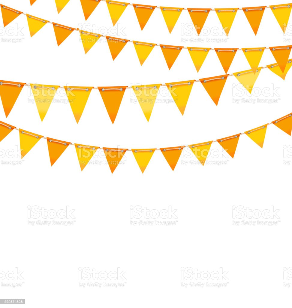 Autumn Holiday Background with Orange and Yellow Bunting Flags - ilustração de arte em vetor