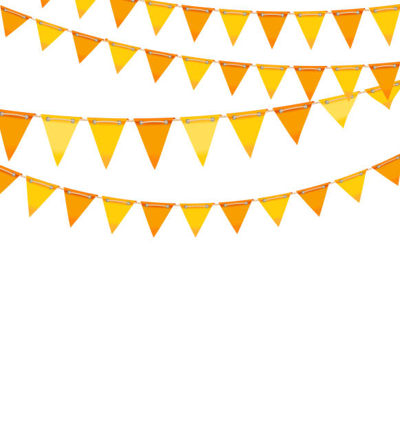 ilustrações, clipart, desenhos animados e ícones de autumn holiday background with orange and yellow bunting flags - setembro amarelo