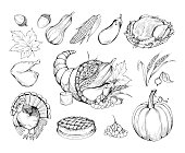 Thanksgiving hand drawn vector symbols set. Natural food, vegetables and traditional dishes sketch illustrations. Farmers market. Pumpkin, turkey cooked chicken and pie monochrome drawings pack