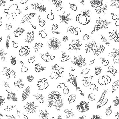 Autumn icons seamless pattern
