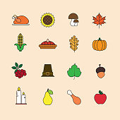 Autumn Icons Set Thanksgiving Day Autumn Traditional Harvest Holiday Concept