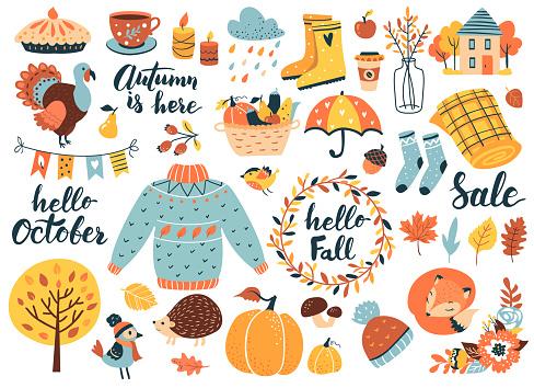 Autumn icons set.