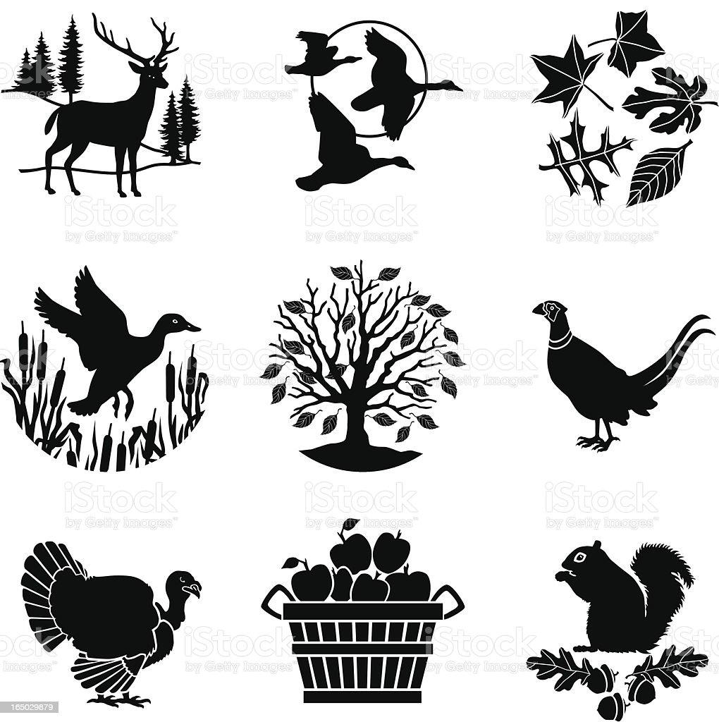 Autumn icons vector art illustration