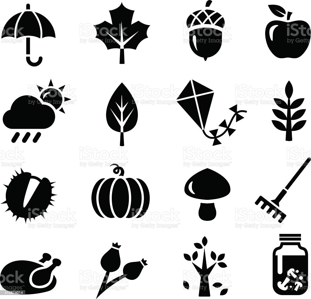 Autumn Icons vector art illustration