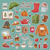 Hand drawn set of cute oictures: rubber boots,cloud, book, cup of tea, sweater, umbrella, pie, apple, mushrooms, leaves, flowers etc. Isolated objects on white background