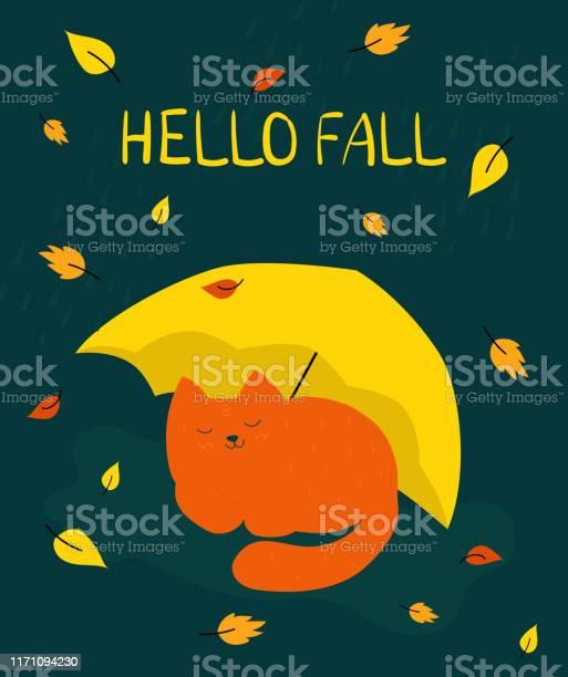 Autumn illustration a red cat sleeps under a yellow umbrella hello vector id1171094230?b=1&k=6&m=1171094230&s=612x612&h=zosdnvkqha6ipjv3irtztfwgie9tmlbd hwyz6rytzy=