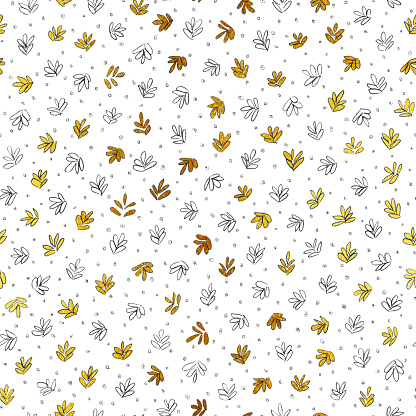 Autumn illustration with small cute hand drawn by pencil leaves scattered carelessly on white paper background - original art in vector with tiny unfinished nature objects colored golden and doodled dots and spots - seamless textured fabric pattern