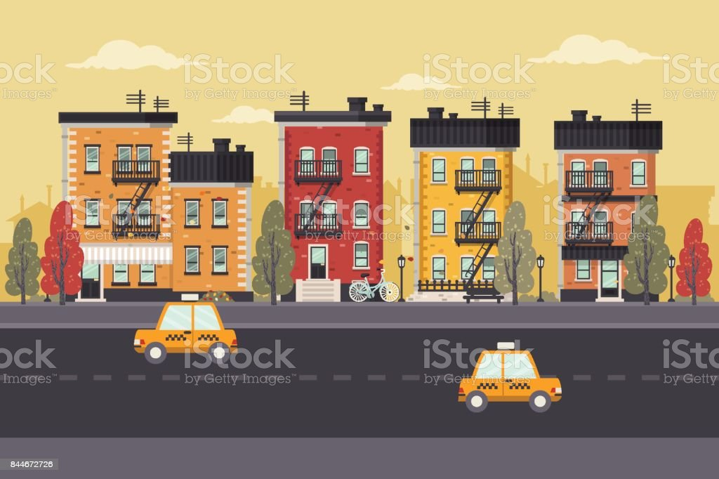 Autumn in Brooklyn vector art illustration