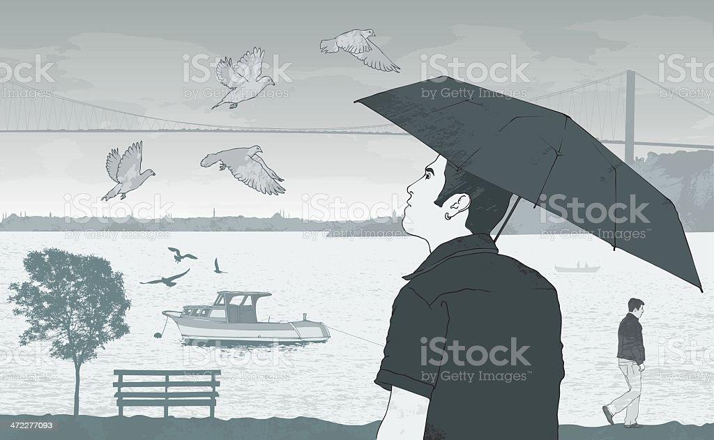 Autumn in Istanbul vector art illustration