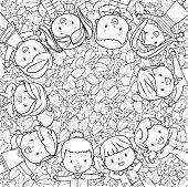 Vector autumn kids frame line art
