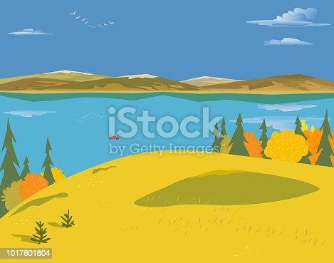 Mountain green valley landscape. Autumn yellow season lake scenic view poster. Trees on river bank in Alps mountains. Freehand cartoon outdoors retro style. Vector countryside scene banner background
