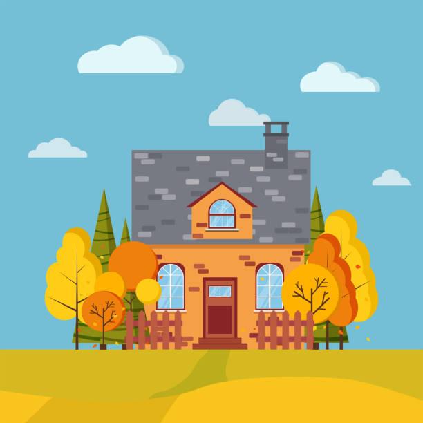 herbst landschaft hintergrund mit bäumen, fichten, felder, zäune, ländliche ziegel cartoon haus mit schornstein im flachen stil. - ziegelwände stock-grafiken, -clipart, -cartoons und -symbole