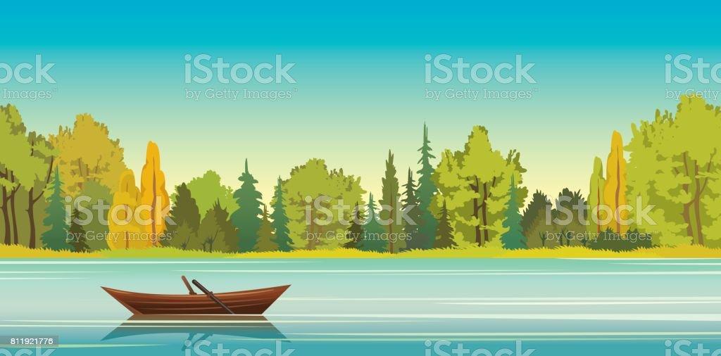 Paysage d'automne - bateau, lac, forêt. - Illustration vectorielle