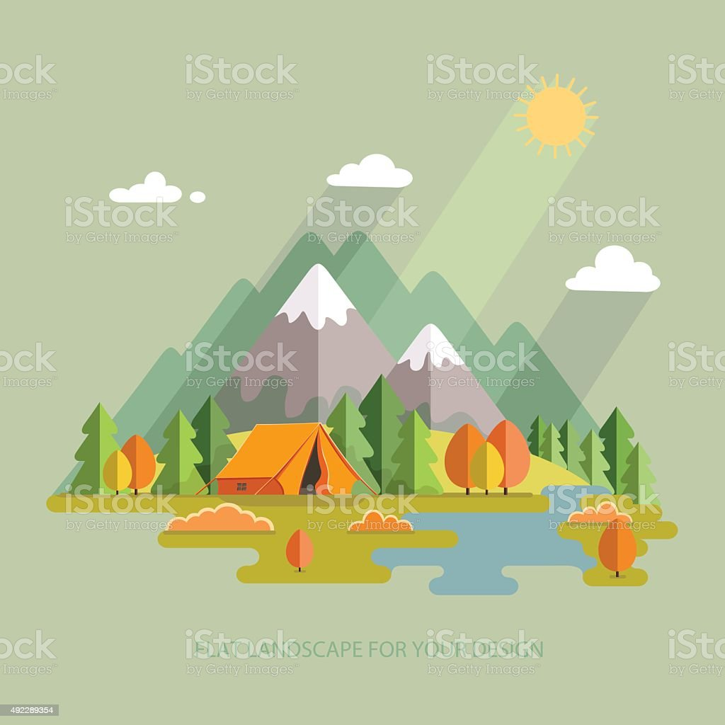 Autumn landscape. Morning landscape in the mountains. Solitude in...