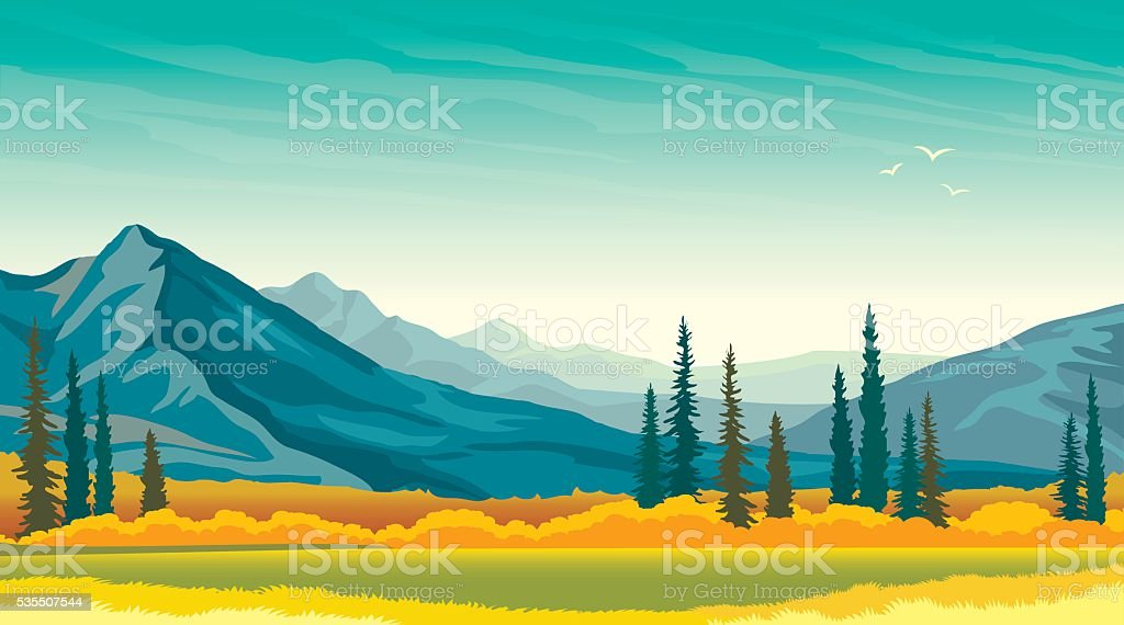 Autumn landscape - mountains and meadow. Panorama. vector art illustration