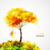 autumn tree. Dreaming girl on swing.