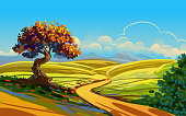 Self illustrated Beautiful Autumn Background, all elements are in separate layers, very easy to edit. Please visit my portfolio for more options. Please visit my portfolio for more options.
