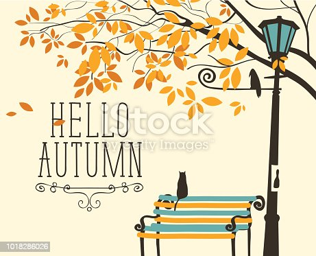 Vector banner in retro style on the fall theme with the inscription Hello autumn. Autumn landscape with tree branches, a lonely cat on the bench and crow on the lamp post