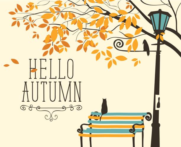 stockillustraties, clipart, cartoons en iconen met herfst landschap met kat en een kraai in het park - vogel herfst