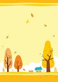 Autumn,landscape,yellow,sky,trees,house,leaf,illustration