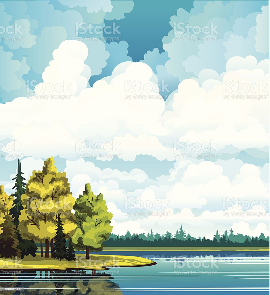 Autumn landscape with trees, lake, forest and clouds vector art illustration